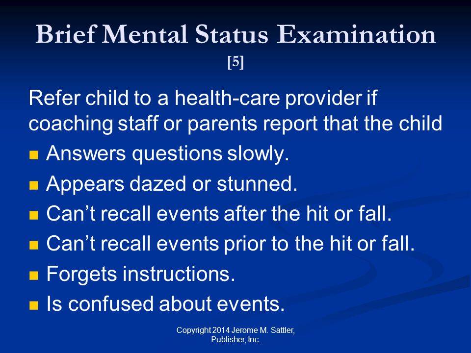 Brief Mental Status Examination [5]
